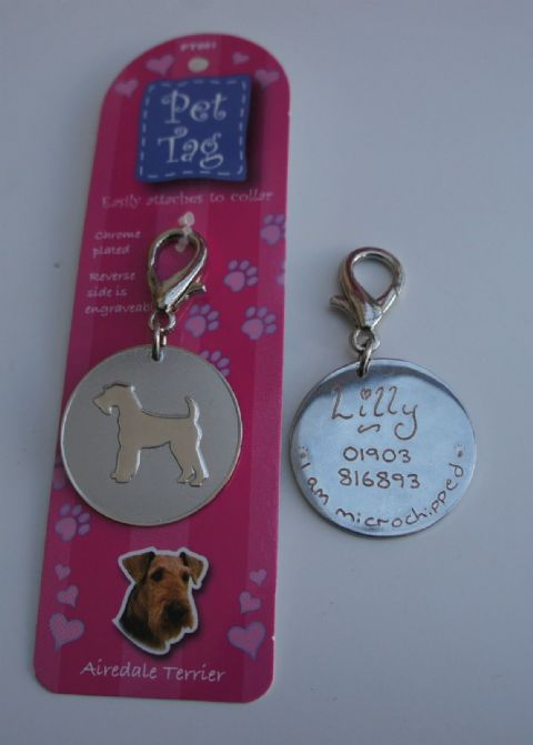 AIREDALE TERRIER ID TAG -   ENGRAVED FREE